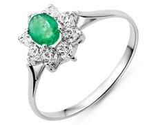 Damen-Ring Smaragd und Zirkonia 9 Karat 375 Weißgold
