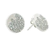 Damen-Ohrstecker 925 Sterling Silber rhodiniert mattiert Zirkonia weiß ZO-5167