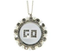 Damen Halskette Metall rhodiniert Glas 50 cm rhod./weiß 3141