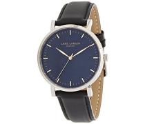 -Herren-Armbanduhr blauem Zifferblatt,Schwarz Leder Strap-143SBBLL