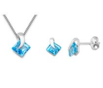 Damen-Set: Halskette + Ohrringe Blau Topas 9 Karat 375 Weißgold MSET011