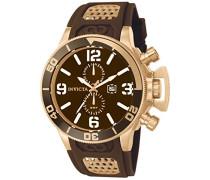 Invicta Herren-Armbanduhr 53mm Armband Kunststoff Braun Gehäuse Edelstahl Schweizer Quarz Analog 10506