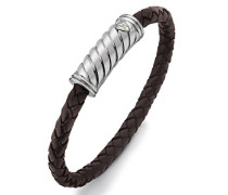 Herren Sterling Silber Gedrehter Lederzopf Armband m. Magnetischem Silber Verschluß