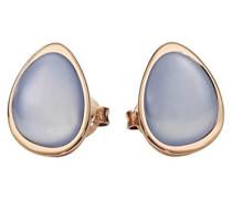 Damen-Ohrstecker Edelstahl teilvergoldet Chalcedon blau - 411993G0