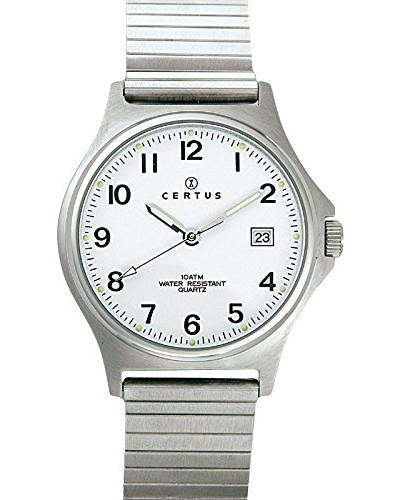 –615826–Armbanduhr–Quarz Analog–Weißes Ziffernblatt–Armband Metall silber