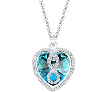 Damen-Kette mit Anhänger Herz, Infinity Unendlichkeit 925 Sterling-Silber blau Facettenschliff Kristall 45 cm