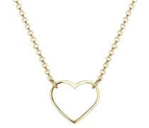 Damen Schmuck Halskette Kette mit Anhänger Herz Liebe Freundschaft Liebesbeweis Silber 925 Vergoldet Länge 42 cm