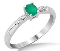 Miore Damen-Ring Smaragd und Brillanten 9 Karat 375 Weißgold Gr. 54 (17.2) MG9124R4