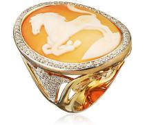 Damen-Ring Muschel Braun Ovalschliff - Größe 58 (18.5)
