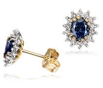 Damen-Ohrstecker 585 Gelbgold 2 Safir blau 28 Diamanten Ohrringe Schmuck