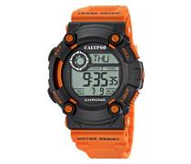 Herren Digitale Armbanduhr mit LCD Dial Digital Display und Orange Kunststoff Gurt k5694/4