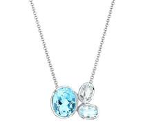 Damen-Kette mit Anhänger Hellblau funkelnd 925 Silber Topas blau Brillantschliff - 0102741815_45