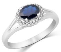 Miore Damen-Ring 14 Karat 585 Weißgold 1.0ct ovale Saphir umrahmt mit 0.11ct Brillanten Gr.54 (17.2) MH4032RO