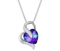 Damen-Kette mit Anhänger Herz Liebe 925 Silber Swarovski Kristall lila Brillantschliff 45 cm - 0111862415_45