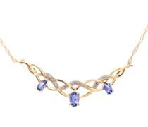 Damen-Halskette 9 Karat 375 Gelbgold Diamant 450 mm PNE01691Y Tanz
