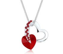 Damen-Kette mit Herz-Anhänger 925 Sterling Silber mit Kristallen von Swarovski rot 45 cm - 0109631214_45