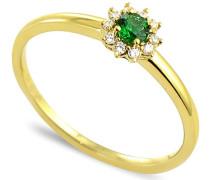 Damen-Ring 9 Karat (375) Gelbgold Smaragd-badm 07048-0001