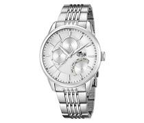 Lotus Herren Quarz-Uhr mit weißem Zifferblatt Analog-Anzeige und Silber Edelstahl Armband 15973/1