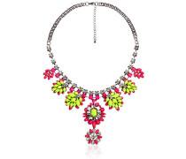 Damen Halskette Messing rhodiniert Glas  42 cm pink 03496