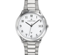 –616409–Armbanduhr–Quarz Analog–Weißes Ziffernblatt–Armband Stahl Silber