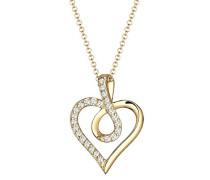 Damen-Kette mit Anhänger Herz Liebe 925 Sterling-Silber teilvergoldet Zirkonia weiß Facettenschliff 45 cm