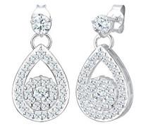 Premium Damen-Ohrhänger Tropfen 925 Silber rhodiniert Zirkonia weiß Brillantschliff - 0310551116