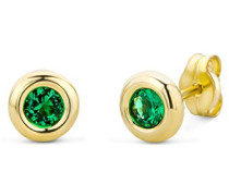 Damen-Ohrstecker 375 Gelbgold Smaragd grün Rundschliff