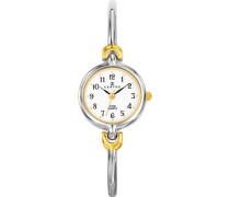 –634252Damen-Armbanduhr 045J699Analog weiß Armband Metall Zweifarbig