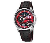 Marc Marquez Kollektion 2015Herren Armbanduhr mit Rot Zifferblatt Analog-Anzeige und schwarz Lederband Scheiben-Abdeckung/2