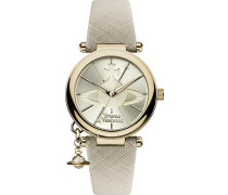 Damen-Armbanduhr Orb Pop Display Quarzuhr Analog mit Gold Zifferblatt und Creme Lederband vv006gdcm