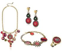 Damen-Schmuckset Halskette + Ohrringe Global traveller Versilbert-74G9EF33010U