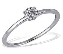 Damen-Ring 9 Karat (375) Weißgold rhodiniert Diamant