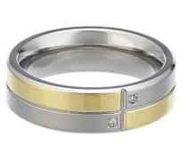 Unisex-Ring Titan teilvergoldet Diamant (0.01 ct) transparent Brillantschliff
