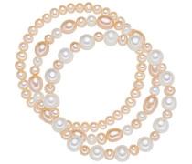 Classic Collection Damen-Armband elastisch Hochwertige Süßwasser-Zuchtperlen in ca.  5-8 mm Oval weiß / apricot     19 cm   60020048