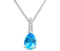 Damen-Kette mit Anhänger Halskette 9 Karat 375 Weißgold rhodiniert Topas blau Tropfenschliff Diamant 45 cm - MKW9091N