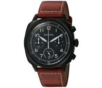 Bulova Herren-Armbanduhr Military Analog Quarz Leder 98B245