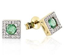 Damen-Ohrstecker 375 Gelbgold 40 Diamanten 2 grüne Smaragde Ohrringe Schmuck