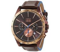 Cerruti 1881 Herren-Armbanduhr CONERO Analog Quarz Leder CRA126SBZR12BR