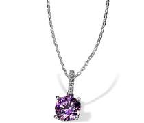 Damen Halskette Purple Fancy 925 Sterling Silber gesetzt mit 7 weißen und einem lilanen Zirkonia 45cm Kettenanhänger Schmuck