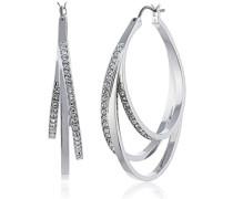 Damen-Creolen Platiniert Kristall transparent Rundschliff - 5099219