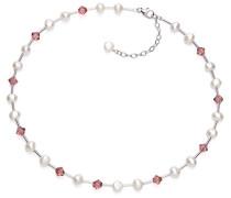 V & Co Halskette Süßwasserperle Pink Kristall Vintage 41.5- Länge 47 cm