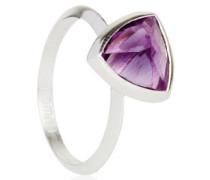 Damen, 925 Sterling Silber, mit Amethyst Solitaire Ring Trillionschliff