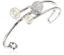 Damen-Armreif Hollywood Vergoldet rhodiniert Zirkonia weiß Synthetische Perle Weiß - BHOBBB12