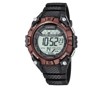 Unisex Armbanduhr Digitaluhr mit LCD Zifferblatt Digital Display und schwarz Kunststoff Gurt k5683/3