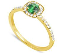 Damen-Ring 18 Karat Gelbgold, Smaragd-badm 07108-0001