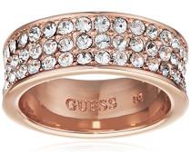 Damen-Ring Messing Glas weiß