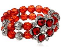 Silber, Kristall und Perlen, Stretch, Blumenmuster, 17 cm