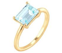 Damen-Ring Solitär 925 Silber vergoldet Swarovski Kristalle blau Radiantschliff