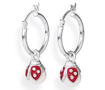 Damen- Ohring Einhänger für Creolen 925 Silber mit Perle weiß Marienkäfer LD MR 49