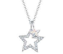Damen-Kette mit Anhänger Sterne 925 Sterling-Silber weiß Rundschliff Kristall 45 cm